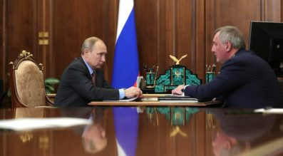 Russian President Vladimir Putin meets with Roscosmos Director Dmitry Rogozin at the Kremlin Feb. 4. Credit: Kremlin.ru