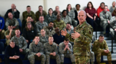 Gen. Jay Raymond, Air Force Space Command commander, speaks to airmen at Buckley Air Force Base, Colorado. Credit: Air Force