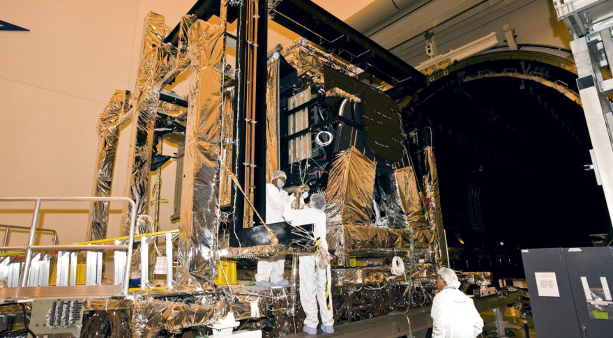 Space-Based Infrared System GEO-1 Satellite undergoing work at Lockheed Martin Space Systems in Sunnyvale, Calif. (Photo courtesy of Lockheed Martin Space Systems)