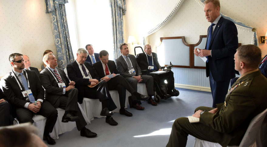 Acting Secretary of Defense Patrick Shanahan meets with a U.S. congressional delegation on the sidelines of the Munich Security Conference, Munich, Germany, Feb. 16, 2019. Credit: DoD