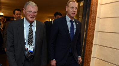 Acting Secretary of Defense Patrick Shanahan meets with Senator James Inhofe (left) at the Munich Security Conference, Munich, Germany, Feb. 16, 2019. Credit: DoD