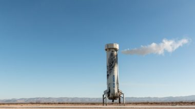 A New Shepard booster comes to a rest Jan. 23 in West Texas after carrying its capsule and eight NASA experimental payloads to a peak altitude of 106.9 kilometers. It was the capsule and booster's fourth mission and the 10th test flight overall for the New Shepard program since 2015. Credit: Blue Origin