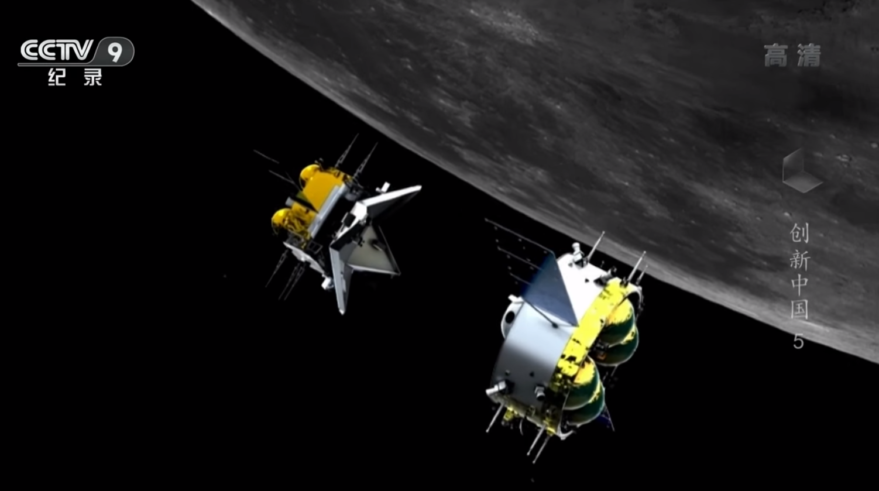 Rendering of the Chang'e-5 orbital module (right) and ascent vehicle in lunar orbit. Credit: CCTV