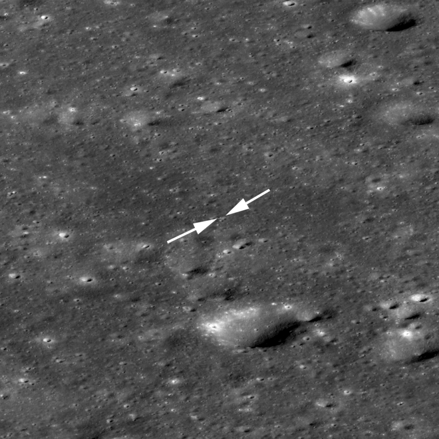 Chang'e-4 lander (near tip of left arrow) and rover (right arrow) among craters on the floor of Von Kármán crater in a 1,700-meter-wide image. Credit: NASA/GSFC/Arizona State University