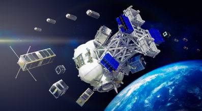 This is an artist's rendering of a cluster of cubesats and small satellites sent in orbit on a Russian Soyuz rocket by Exolaunch, the German launch services provider formerly known as ECM-Space. Credit: Exolaunch