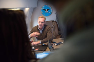 Acting Secretary of Defense Patrick Shanahan speaks to reporters after visiting the US southern border on Feb. 23, 2019. Credit: DoD