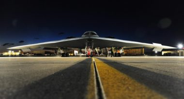 A B-2 Spirit bomber sits on the flightline prior to takeoff at Whiteman Air Force Base, Missouri. Strategic bombers like the B-2 make up one leg of the U.S. nuclear triad. Credit: U.S. Air Force