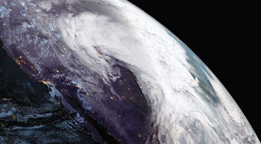 NOAA's GOES West satellite captured this image March 13 of a winter storm that hit the U.S. with heavy snow, rain and blizzard conditions. Credit: NOAA NESDIS
