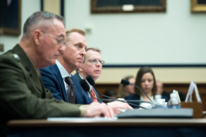 Acting Defense Secretary Patrick M. Shanahan, center, flanked by Marine Corps Gen. Joe Dunford, chairman of the Joint Chiefs of Staff, left, the chairman of the Joint Chiefs of Staff, and David L. Norquist, the Defense Department's chief financial officer, testify to the House Armed Services Committee on the fiscal year 2020 budget request, March 26, 2019. Credit: DoD
