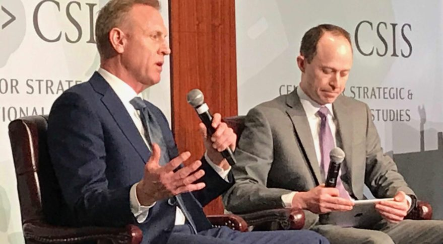 Acting Defense Secretary Patrick Shanahan (left) speaks with defense analyst Todd Harrison March 20, 2019 at the Center for Strategic and International Studies. Credit: SpaceNews