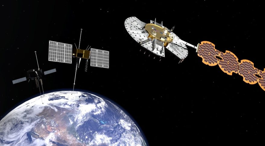 Artist's concept of the NTS-1, NTS-2 and NTS-3 satellites. NTS-3, right, is the U.S. military's first Navigation Technology Satellite in 40 years. Credit: Lt. Jacob Lutz, AFRL Space Vehicles Directorate