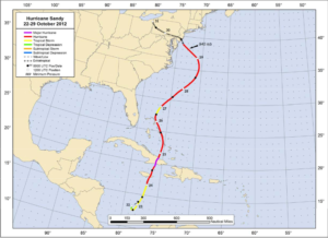 Hurricane Sandy turned west in 2012 before making landfall in New Jersey. Without microwave sensor data, forecasters would have called for the storm to make landfall 24 hours later than it did and to strike Maine. Credit: National Weather Service