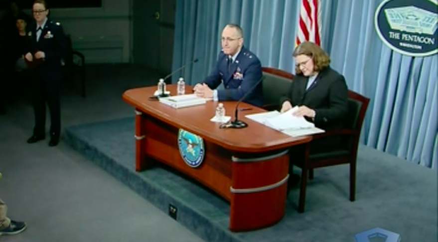Air Force Deputy Assistant Secretary for Budget Maj. Gen. John M. Pletcher and Air Force Deputy for Budget Carolyn M. Gleason announce the service's fiscal year 2020 defense budget request during a news conference at the Pentagon, March 12, 2019. Credit: DoD