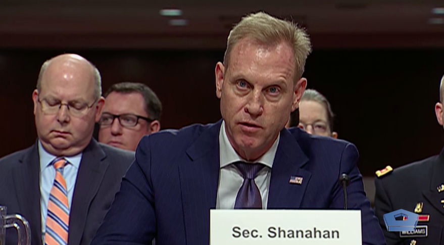 Acting Defense Secretary Patrick Shanahan testifies in front of the Senate Armed Services Committee March 14, 2019. Credit: DoD