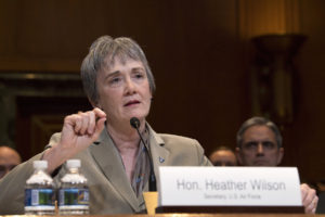 Secretary of the Air Force Heather Wilson testifies during a Senate Appropriations Committee hearing on the Fiscal Year 2020 funding request March 13, 2019. Credit: U.S. Air Force