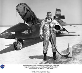 X-15 test pilot Bill Dana was one of eight U.S. pilots to earn astronaut wings for flying the hypersonic rocket-powered aircraft to suborbital altitudes. X-15 reached 81 kilometers or higher 13 times in the 1960s. Credit: NASA