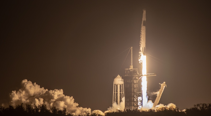 Falcon 9 Crew Dragon liftoff