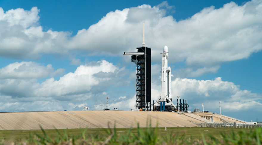 Arabsat-6A is the first commercial satellite slated to launch on SpaceX's Falcon Heavy rocket. Credit: Jordan Sirokie for SpaceNews.