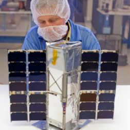 A Blue Canyon Technologies technician works on a 3U cubesat. The firm received a SpEC contract three weeks after proposal. Credit: Blue Canyon Technologies