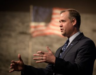 """""""At the end of the day we're going in 2024, whatever that takes,"""" NASA Administrator Jim Bridestine said during an April 1 town hall meeting with NASA employees. Credit: NASA/Bill Ingalls"""