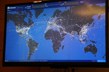 Aireon showed a map of more than 10,000 aircraft it is tracking in near-real time. Credit: SpaceNews/Caleb Henry