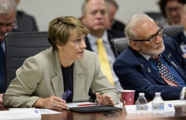 """In November, members of the National Space Council's Users' Advisory Group panned NASA's proposal for landing on the moon in 2028. """"[T]hat's 10 years from now. It just seems like it's so far off,"""" said former astronaut Eileen Collins, shown at a June meeting beside Apollo 11 astronaut Buzz Aldrin. Credit: NASA/Joel Kowsky"""