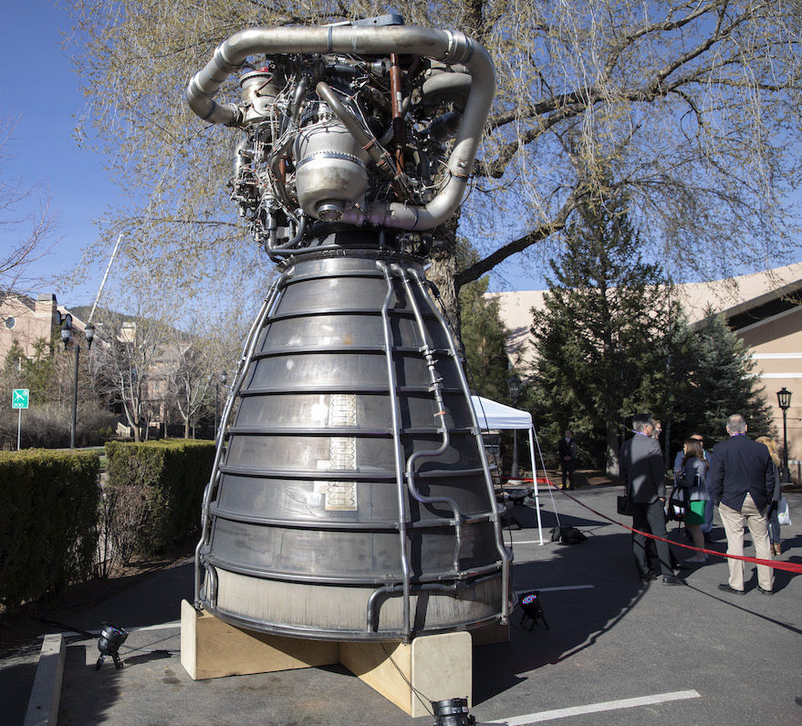 An Aerojet Rocketdyne RS-25 engine on display at the 35th Space Symposium (Keith Johnson/SpaceNews)