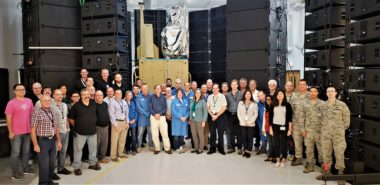 The Space and Missile Systems Center Remote Sensing Systems Directorate and its L3 Technologies and Millennium Space Systems industry partners successfully completed Acoustic Testing on the Space Based Infrared System Wide Field of View program optical payload in August 2018. Credit: USAF photo by Walter Talens