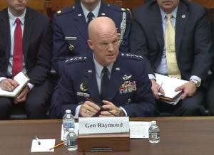 Air Force Space Command Commander Gen. John Raymond testifies April 3, 2019, in front of the House Armed Services Committee's strategic forces subcommittee.  Credit: YouTube