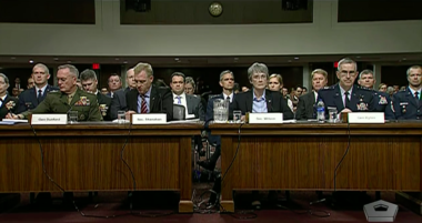 Chairman of the Joint Chiefs of Staff Gen. Joseph Dunford, Acting Defense Secretary Patrick Shanahan, Air Force Secretary Heather Wilson, and Commander of U.S. Strategic Command Gen. John Hyten testify April 11, 2019 in front of the Senate Armed Services Committee. Credit: YouTube