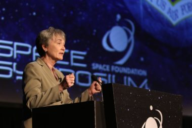 Air Force Secretary Heather Wilson speaks April 9, 2019 at the 35th Space Symposium. Credit: Tom Kimmell
