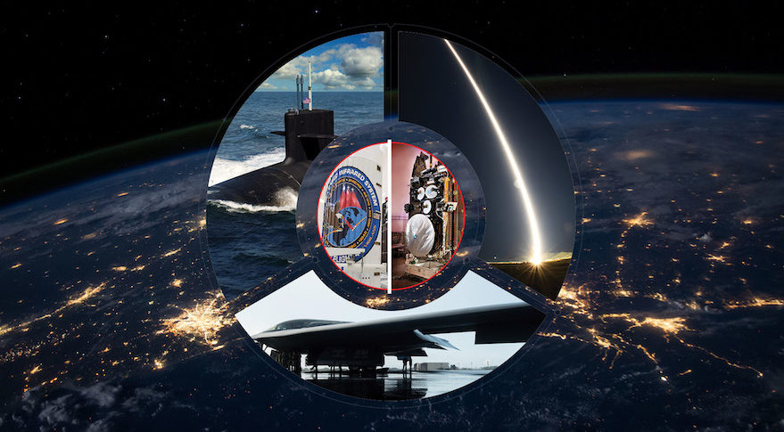 Satellites such as the Space Based Infrared System and Advanced AEHF are part of the in-space node of a U.S. nuclear triad consisting of ballistic missile submarines, strategic bombers and land-based ICBMs. Credit: SpaceNews graphic