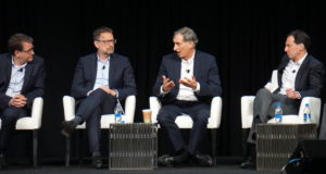 Satellite operators said at Satellite 2019 that the 28 GHz spectrum band is one they need to defend more diligently. Photo shows Eutelsat CEO Rodolphe Belmer (left), SES CEO Steve Collar (center left), Viasat CEO Mark Dankberg (center right) and Telesat CEO Dan Goldberg (right). Credit: Caleb Henry for SpaceNews