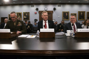 Chairman of the Joint Chiefs of Staff Marine Corps Gen. Joseph F. Dunford Jr., U.S. Acting Secretary of Defense Patrick M. Shanahan, and Under Secretary of Defense (Comptroller) / Chief Financial Officer David L. Norquist provide testimony on the fiscal 2020 Department of Defense budget before the House Appropriations Subcommittee on Defense. Credit: DoD