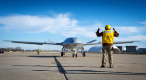The Navy's MQ-25 unmanned aerial refueling tanker will be the launch customer for Boeing's new phased array satellite antenna for wideband communications. Credit: Boeing