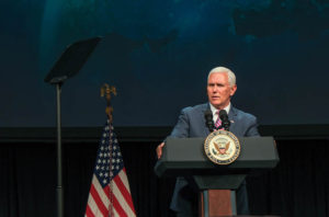 U.S. Vice President Mike Pence speaking May 6 during the opening day of Satellite 2019 in Washington. Credit: Brian Berger/SpaceNews