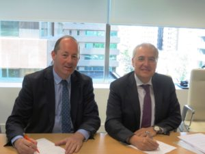 Nicolas Chamussy of Airbus (left) and Miguel Angel Panduro of Hisdesat sign SpainSAT NG deal. Credit: Airbus