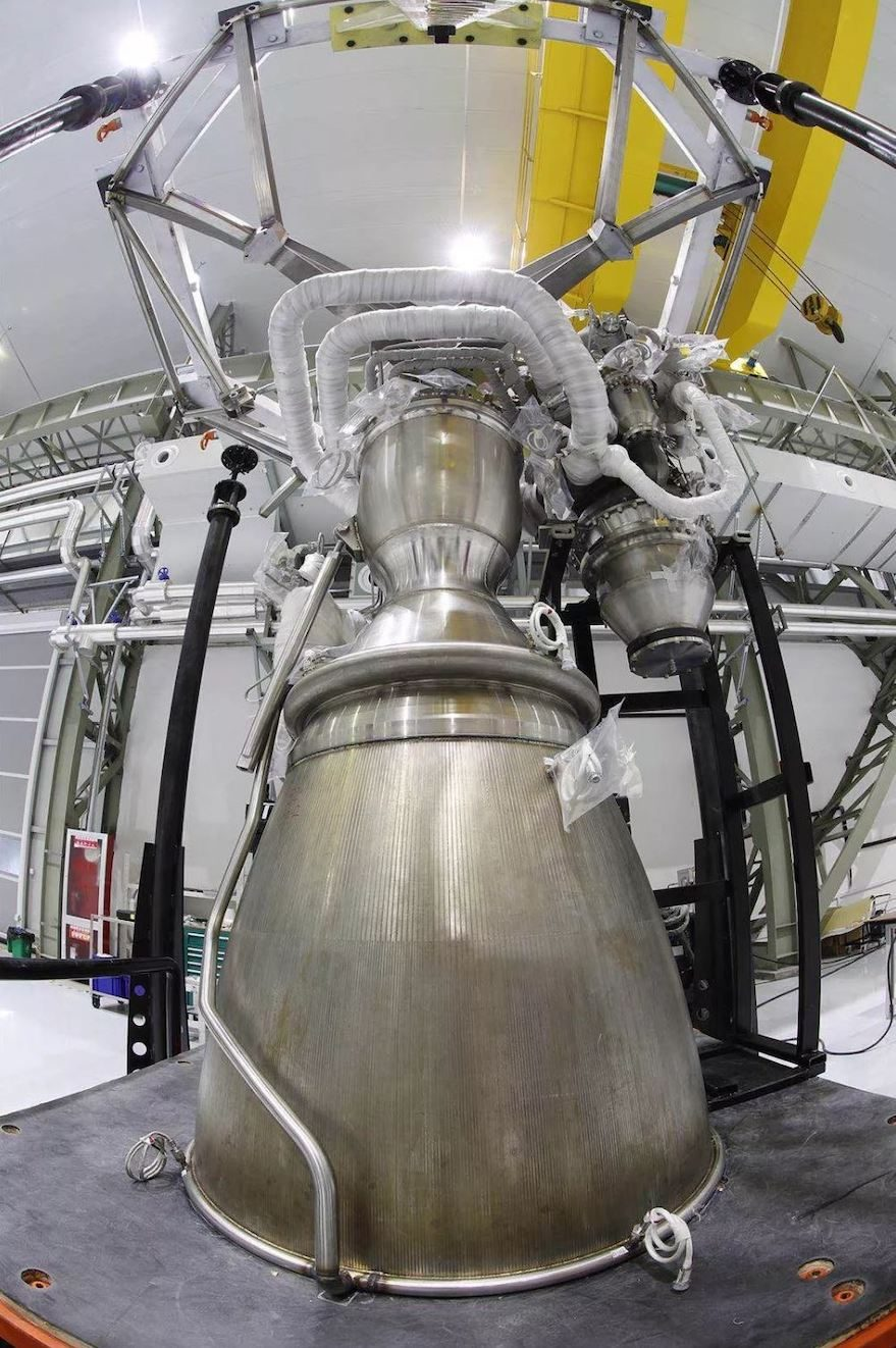 The assembled Tianque-12 80-ton thrust methalox engine. Credit: Landspace