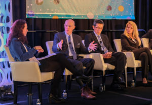 United Launch Alliance CEO Tory Bruno, second from left, discusses the company's Vulcan rocket during a launch provider panel May 7 at Satellite 2019 in Washington. Credit: Brian Berger/SpaceNews