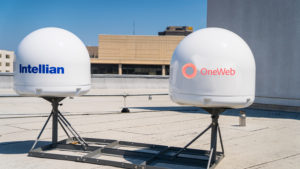 "OneWeb says it has ""a range of antennas now in place"" comprised of flat panels and dual parabolic dishes to support its constellation. Credit: OneWeb."