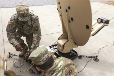 U.S. Army soldiers configure a Hawkeye II 1.2M VSAT terminal during a training exercise in April. Credit: U.S. Army Reserve photo by Capt. David Gasperson