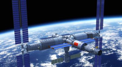 Artist impression of the future Chinese Space Station in orbit around the Earth.