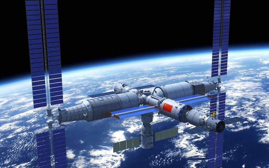 Impressione artistica della futura stazione spaziale cinese in orbita terrestre.