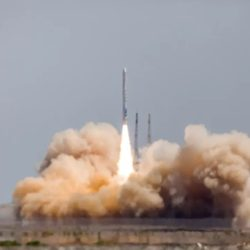 Liftoff of the Jielong-1 solid propellant rocket from the Gobi Desert in July 2019.
