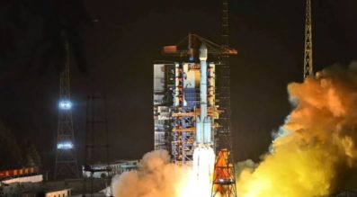 Nighttime liftoff of a Long March 3B from Xichang Satellite Launch Center in Sichuan, southwest China, at 2:09 p.m. Eastern June 24, 2019.