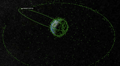 The Earth and objects in geostationary orbit, with ChinaSat-18 illustrated as stuck in a geostationary transfer orbit.