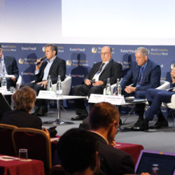 Photo of executives from satellite connectivity service providers participating on a panel discussion Sept. 10 at World Satellite Business Week in Paris.