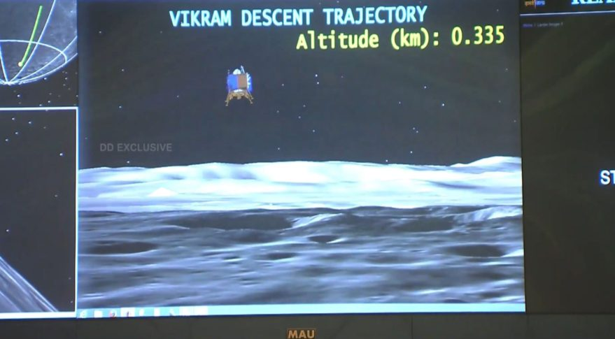 Representation of the Chandrayaan-2 Vikram lander descent to the lunar surface.