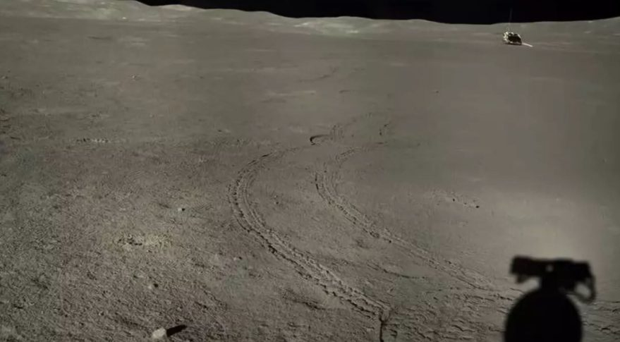Stitched images from the Yutu-2 rover showing the distant Chang'e-4 lander.