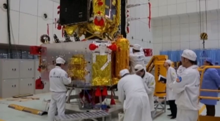 The Chang'e-5 lunar sample return spacecraft lander and ascent modules undergoing testing in 2017.